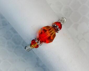 """Cynthia Lynn """"DAZZLE"""" Brilliant Fire Opal Swarovski Crystal Silver Stretch Ring"""