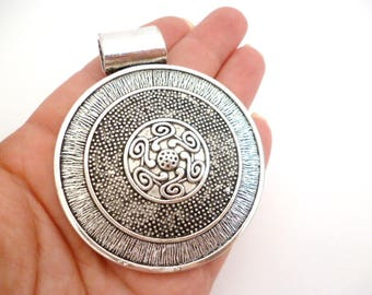 """Solid Large Silver Tone Charm Pendant _AM6500/6652157_Large Silver Round Charm of 63x75 mm / 2/5"""" x 2/96""""_ pack 1 pcs"""
