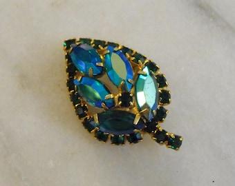 Vintage Teal Aurora Borealis Leaf Brooch