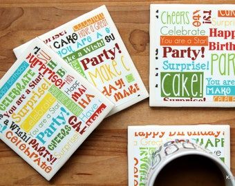 Drink Coasters - Tile Coasters - Ceramic Coasters - Birthday Coasters - Ceramic Tile Coasters - Coaster Set - Table Coasters - Coaster