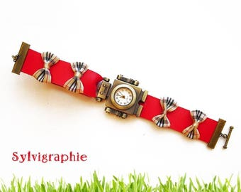 Red robot leather watch