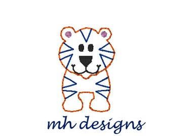 Mini Tiger embroidery design, Vintage stitch tiger, Tiger embroidery file, Bean stitch Tiger