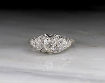 Antique Edwardian, Early Art Deco Engagement Ring in Platinum with Old Mine Cut Cut Diamond; Filigree; Engraving R664