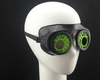 Cyber Rubber Goggles with Green Wood Filligree Lenses minion goggle cyberpunk aviator sunglasses cosplay glasses cyber goggles goggles