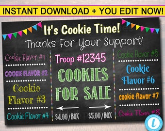 EDITABLE Cookie Booth Sign, Digital File, Troop Leader, Cookie Banner, Bake Sale Sign, INSTANT DOWNLOAD Fundraiser Printables