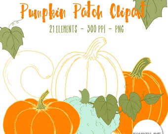 Pumpkin Clipart, Pumpkin Patch Clipart, Pumpkin Clip Art, Fall Clipart, Thanksgiving Clipart, Hand Drawn Pumpkin, Fall Harvest Clipart