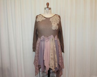 Mocha tattered top Gypsy Boho dress long sleeves Funky Hippie top Romantic country Bohemian crochet lace Music festival fairy Woodland L-XL