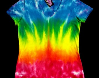 Rainbow Bridge Lady's V Neck Tie Dye Shirt 9 oz