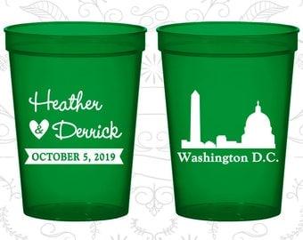 Washington DC Wedding Cups, Washington DC Wedding, Plastic Cups, Destination Wedding, State Cups, Stadium Cups (150)