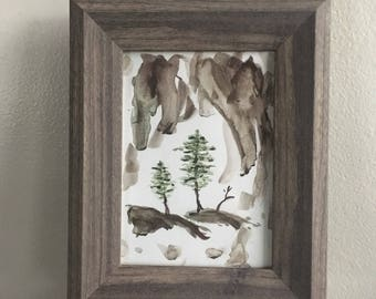 Tree Watercolor Painting in Frame