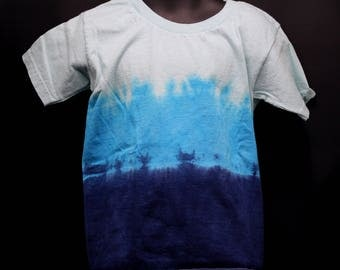 Tie Dye Kids T-Shirt, Trippy Children's Top, Cute Blue Hippie Toddler Tee