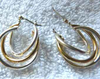 Triple Hoop Earrings Gold tone Center Ring -- Silver tone Outer Rings -- NON-MAGNETIC makes me wonder?