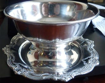 Gorham CHANTILLY-DUCHESS STERLING Bowl With Attached Underplate -- Finger Bowl -- Compote -- Gravy Bowl -- Sauce Boat -- from Holloware Line