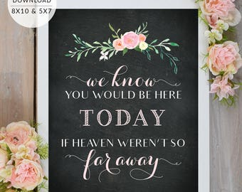 In Loving Memory If Heaven Weren't So Far Away Sign PRINTABLE 8x10 and 5x7 | Chalkboard Blush Pink In Loving Memory Wedding Sign |