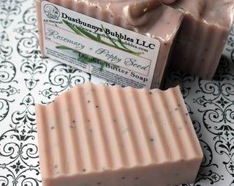 Rosemary Poppy Seed, all natural soap, double butter soap, shea butter, mango butter, palm free soap, detergent free, essential oil soap