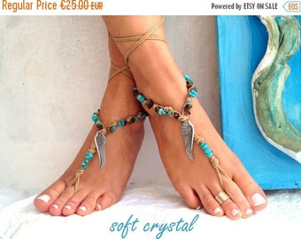 SALES-20% Silver WINGS, Barefoot sandals, beaded sandals, native america, barefoot sandles, crochet barefoot sandals, yoga, anklet, soft cry