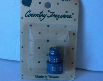 Country Treasure Minature Wooden Hat Boxes Blue Round 2211 Made In Taiwan Dollhouse, Shadowbox