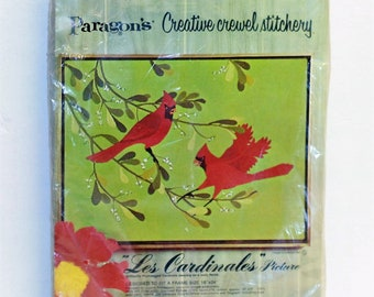 "Paragon's Creative Crewel Stitchery Kit ""Les Cardinales"" Picture kit Vintage 1972 sealed"
