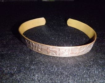 vintage adjustable solid copper cuff bracelet Thunderbird