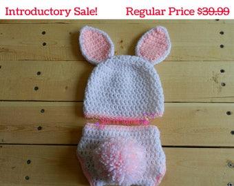 Newborn Bunny Set - Bunny Set - Photo Prop - Photography Prop - Newborn Bunny Hat - Bunny Tail - Bunny Hat - Baby Bunny Hat