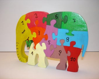Elephant puzzle to learn numbers
