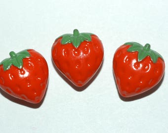 Strawberry Button Set. Set of 3. Size 5/8""
