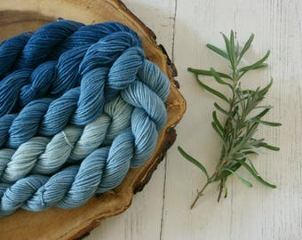 Merino Sock Yarn Mini Skeins - 5 x 20g - 4ply Indigo Blue Gradient - hand dyed