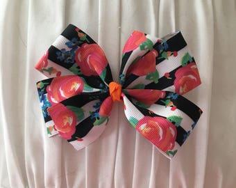 Black  Stripe & coral floral pinwheel