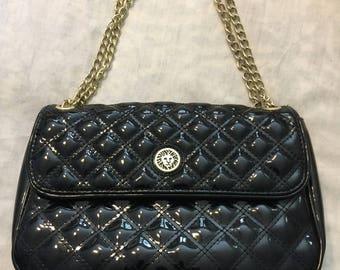 SALE Black Vintage Vinyl Patent Leather Anne Klein Gold Chain Link Straps Bohemian Cottage Chic Handbag Purse