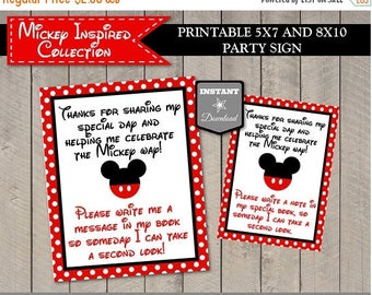 SALE INSTANT DOWNLOAD Classic Mouse 5x7 and 8x10 Guest Book Autograph Printable Party Sign / Classic Mouse Collection / Item #1591