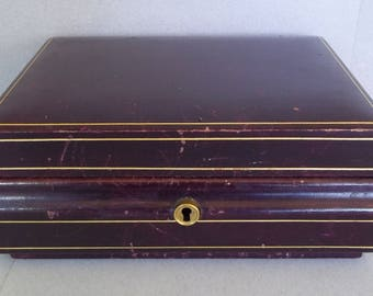 Vintage Leather Jewelry Box with Gold Tooled Trim - Vintage Leather Jewelry Case - Leather Dresser Box - Leather Jewelry Box - Gold Tooled