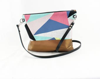 Color block copper Crossdiv bag with leather handles