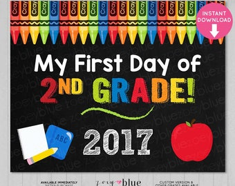 First Day of Second Grade Sign - Boy 2nd Grade First Day of School Chalkboard Sign - PreK Photo Prop - Instant Download - Printable Digital