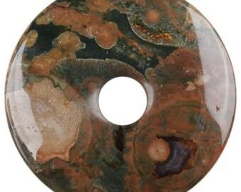30mm g0128.15 Rhyolite jasper donut gemstone pendant focal bead