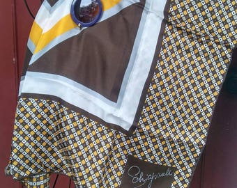 Elsa Schiaparelli Vintage Brown & Yellow Hand Rolled Japanese Silk Scarf and Purple Round Gold tone Sunglasses Day Beach Kit Duo