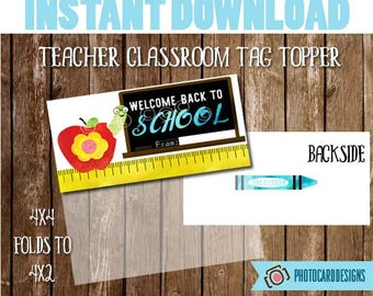 Welcome Back to SCHoOL Treat Bag Topper, Teacher Class Printable, School Printable, Welcome Back to School Tag, Treat Bag, BookWorm, Instant