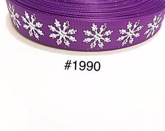 "3 or 5 yard - 1"" Big Silver Foil Snowflake on Purple Grosgrain Ribbon Hair bow"
