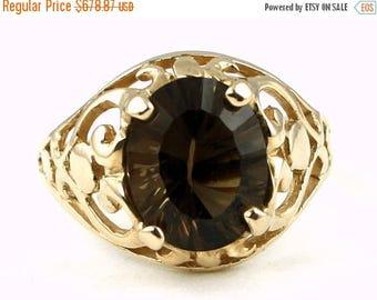 On Sale, 30% Off, Smoky Quartz, 18KY Gold Ring R004