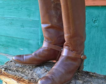 Vintage 1930s Tall Chestnut Riding Boots