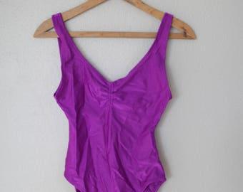 vintage 1980's purple   one piece swimsuit bodysuit womens