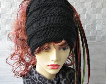 Dreadlocks  headband, dread tube,  Black Knitting Head Wrap Dreadlock Style