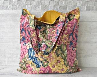 Bohemian Tote Bag,  Fabric Shoulder Bag, Womens handmade Hippie shopping sack Vintage Fabric