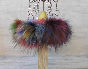 Fashionable Keychain, Rainbow Faux Fur Pom pom, Very Soft  Pompom For handbag, Boho Accessory, Ready to send
