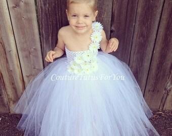 20% OFF SUMMER SALE Flower Girl, White Tulle flower girl Dress, tulle flower girl dress wedding, tutu dress tulle flower girl, tutu flower g