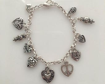 Girls or Small Wrist Silver Hearts Charm Bracelet - Multiple Hearts Charms Bracelet