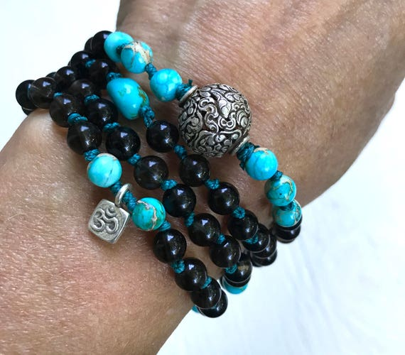 Protection Mala Beads, Smoky Topaz, Turquoise, Conch Shell, OM Charm, Root Chakra, Ashtamangala, 8 Auspicious Path, Healing, Stress Relief