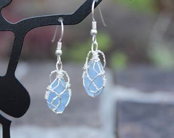 Sea Glass Earrings - Light Blue Wrapped Sterling Silver Pierced