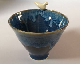 Bird bowl - handmade ceramic red and gold or snowy blues