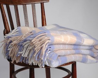 Pure Wool blanket with fringes Light blue/Sand beige check Lambswool blanket Pure wool throws Wool throw 55''X81''/140X205cm Perfect gift