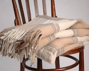Pure Wool blanket with fringes Milk white/Sand beige check Lambswool blanket Pure wool throws Wool throw 55''X81''/140X205cm Perfect gift